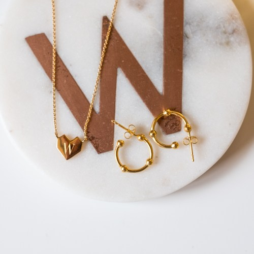 Missoma folded heart engraved necklace and gold hoop earrings