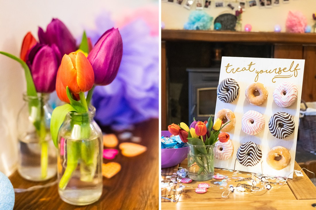 hen do decorations, tulips in vase and donut holder in Snowdonia