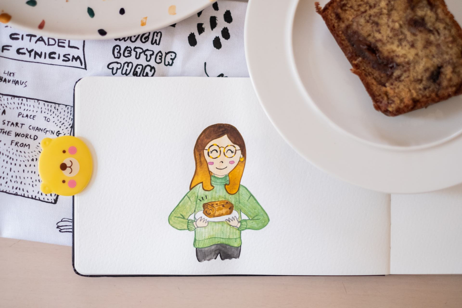 Keeping busy, baking and the daily doodle. Illustration.