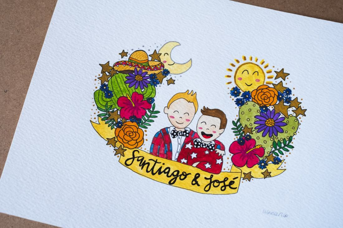 happy kids illustration - a portrait of Santiago and Jose
