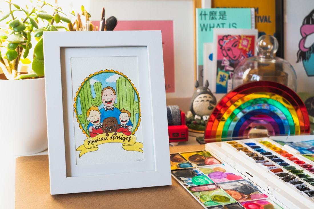 framed image of postcard portrait - happy kids illustration