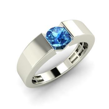 Fia Mens Ring With Round Blue Topaz 04 Carat Round
