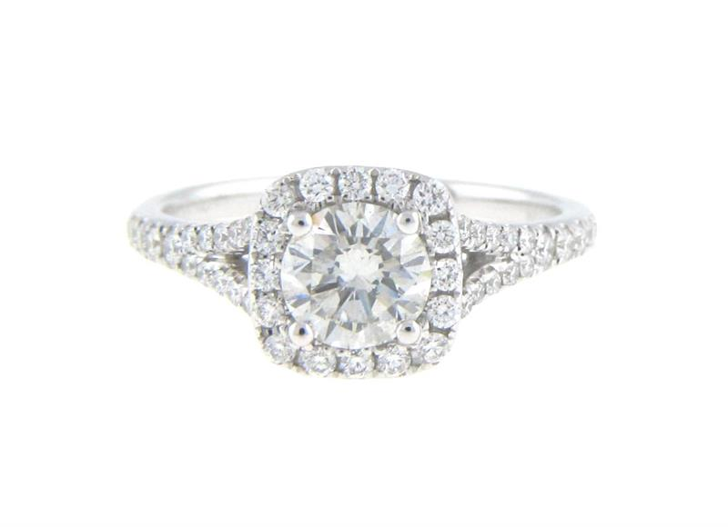 .74ct Round Brilliant Diamond With A Cushion Halo & Split