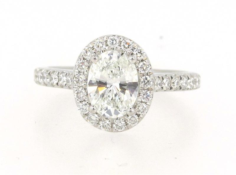 Platinum Custom Designed Oval Diamond Engagement Ring