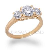 DiamondIdeals.com | Three Stone Trellis Engagement Ring in ...