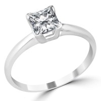 1 Ct Princess Cut Diamond Engagement Ring VS2/F 14K White ...