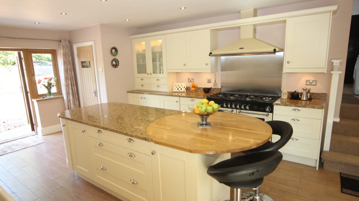 Cream Painted Timber Kitchen With Granite And Wooden