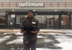 Rodney Standing in front of optimum to take back cable boxes.