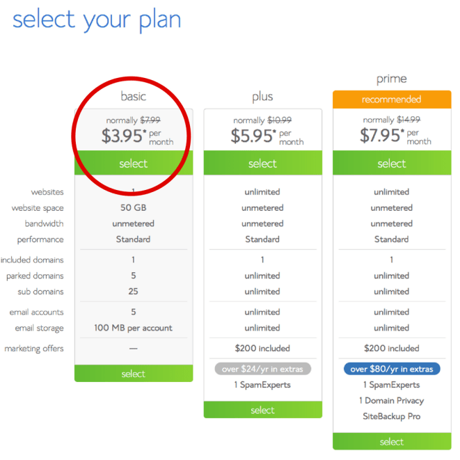 How to Start a Blog, Beginner's Guide With Bluehost Select your plan