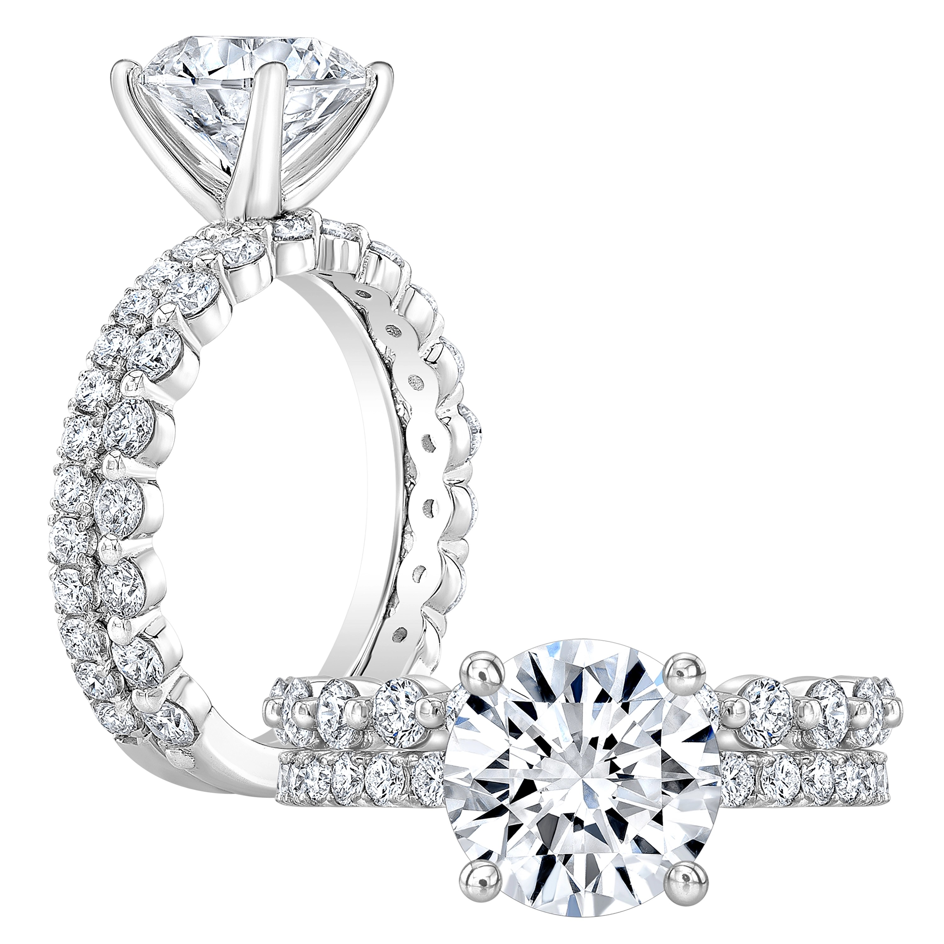 2 66ct Round Cut Natural Diamond Classic Engagement Ring