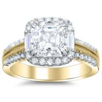 Baguette Accents Yellow Gold Engagement Rings