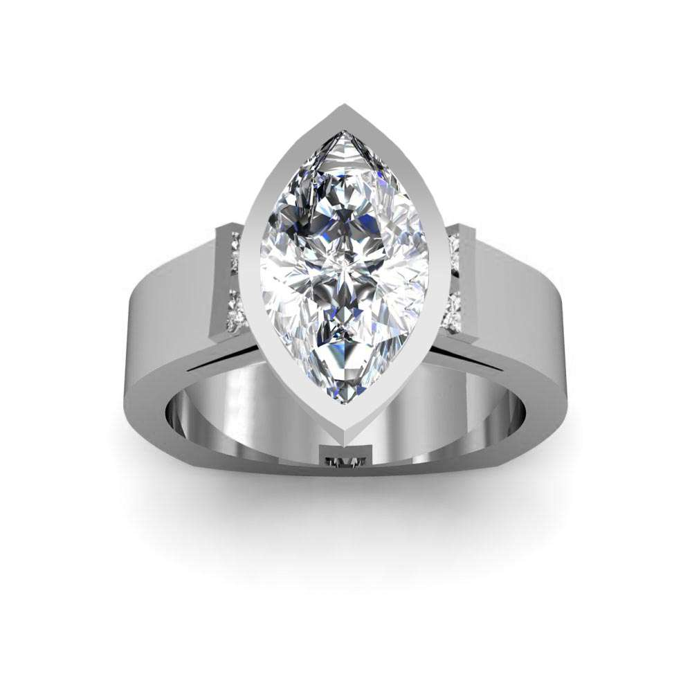 Round Cut Sidestones Bezel Setting Natural Diamonds