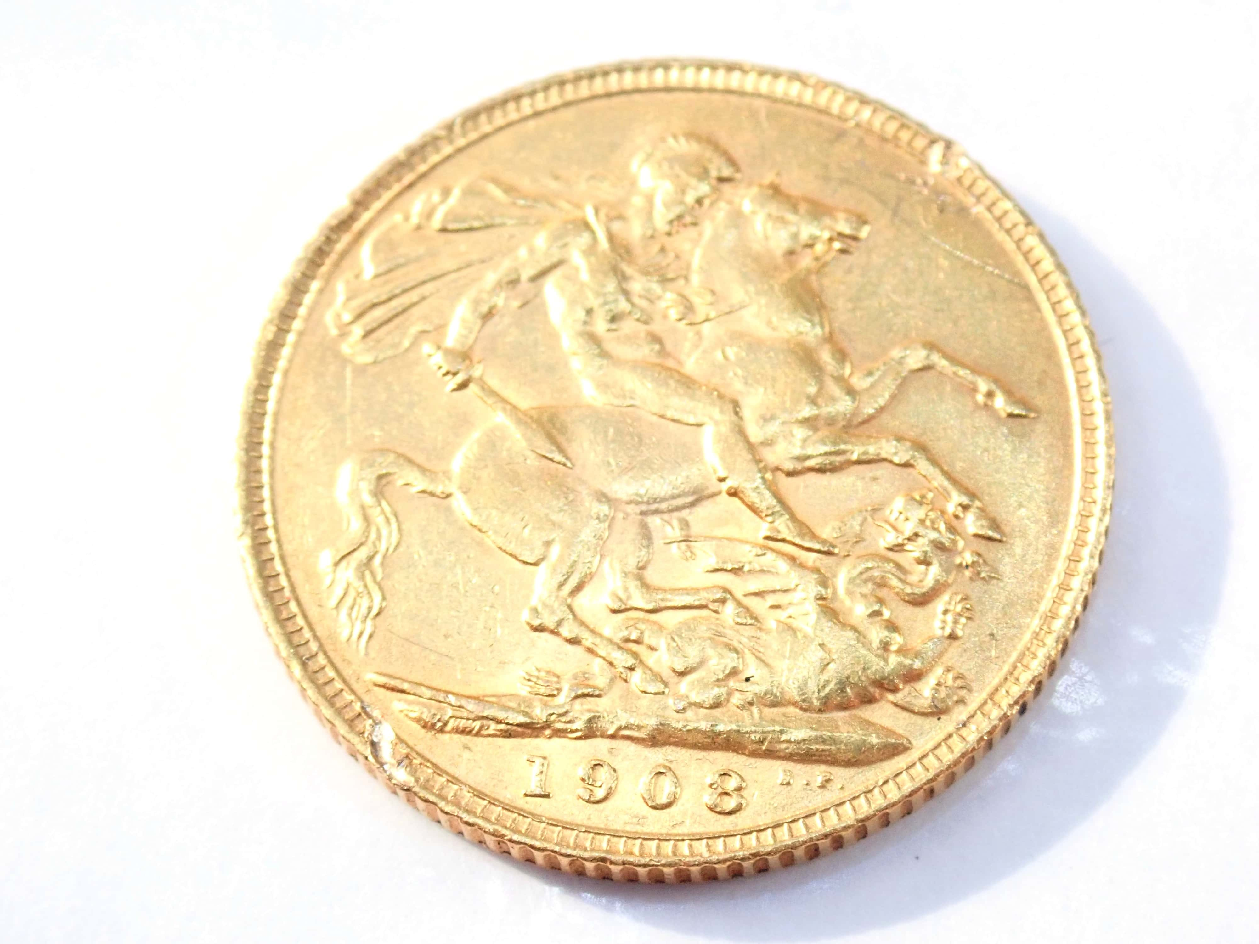AZZ00873 3 - 1908 22ct Gold Full Sovereign King Edward VII Coin A.U #553