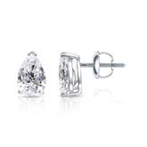 Certified 14k White Gold V-End Prong Pear Shape Diamond