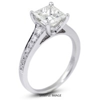 18k White Gold Engagement Ring with Milgrains with 1.20 ...
