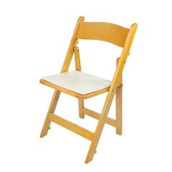 Wooden Folding Chairs For Rent Santa Chair Covers Dollar Tree Natural Wood W Pad Rentals Miami Fl Where To Find In
