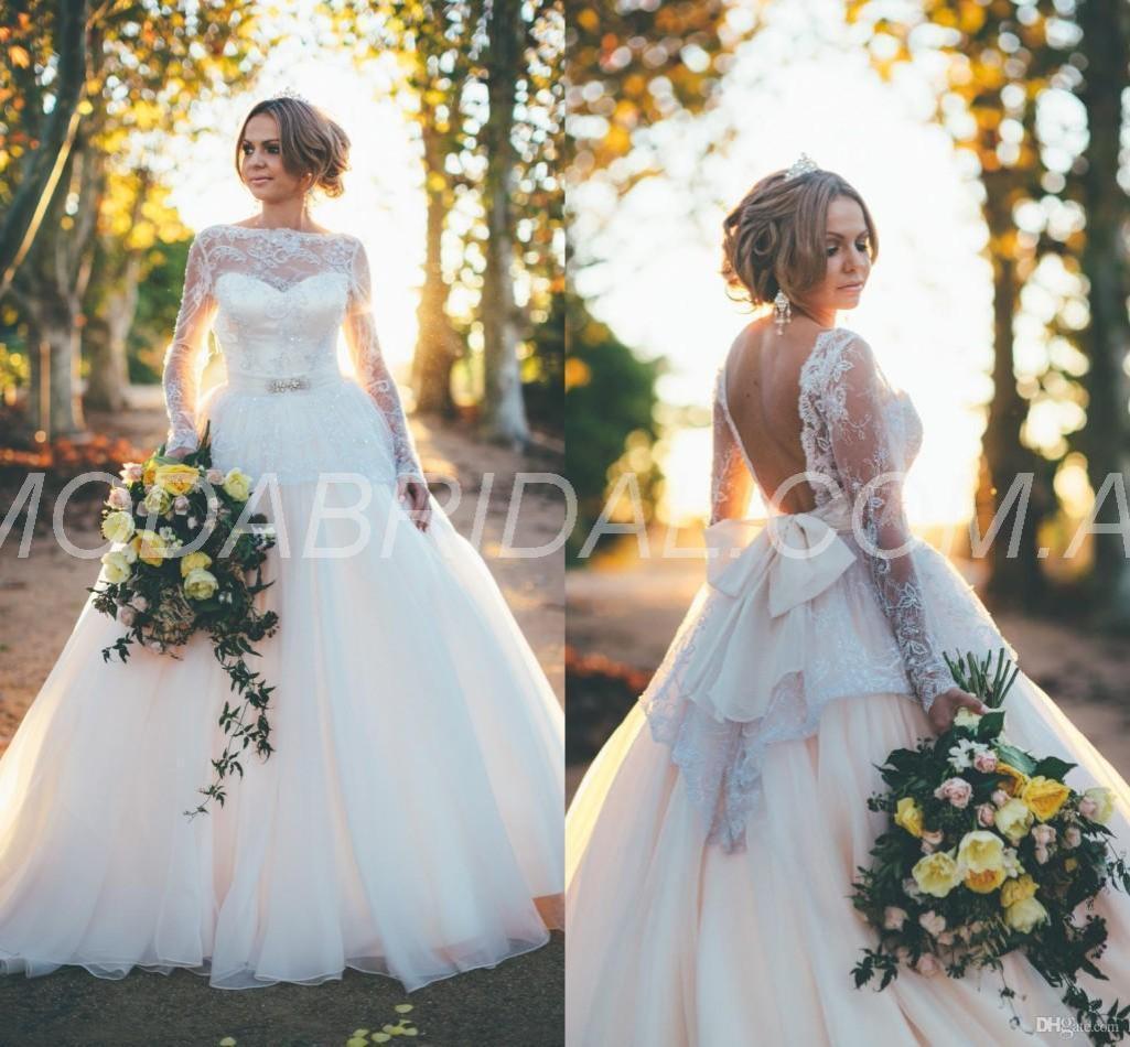 Church Garden/Outdoor Long Sleeves Floor-Length Lace Bowknot Fall Winter Wedding Dress