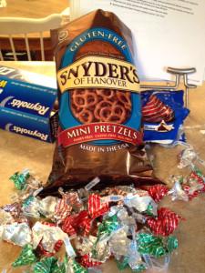 Synder's gluten free pretzels Hershey's Hugs