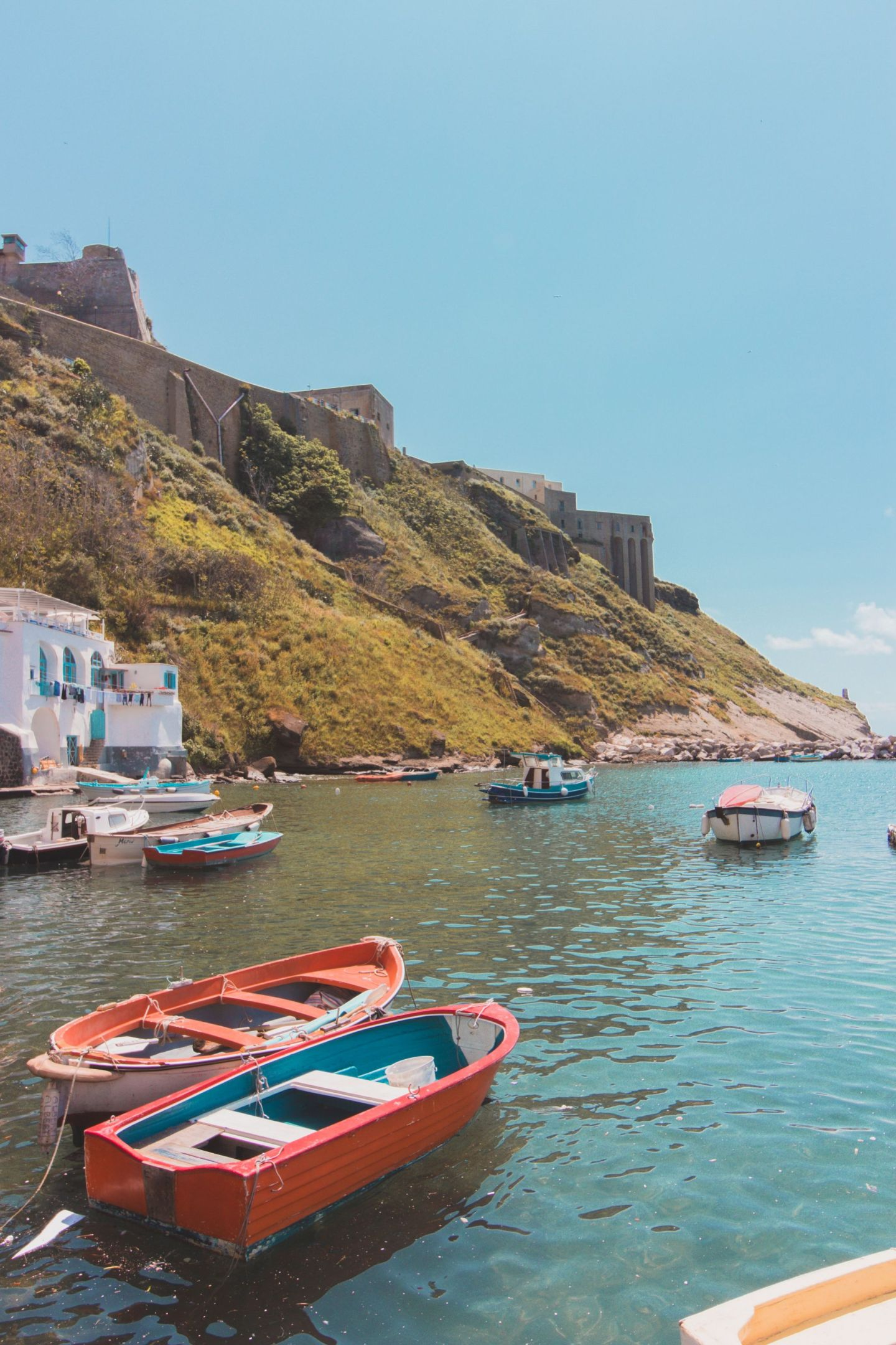 View to the old prison from the beach in Procida