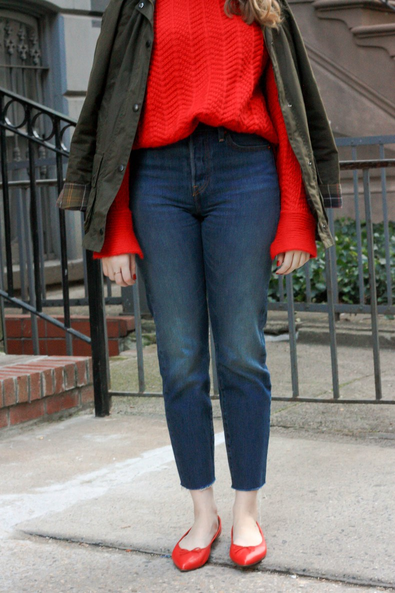 Barbour Beadnell, Wedgie Icon Fit High Waist Crop Jeans, J.Crew Gemma Flats // Pearl Girl
