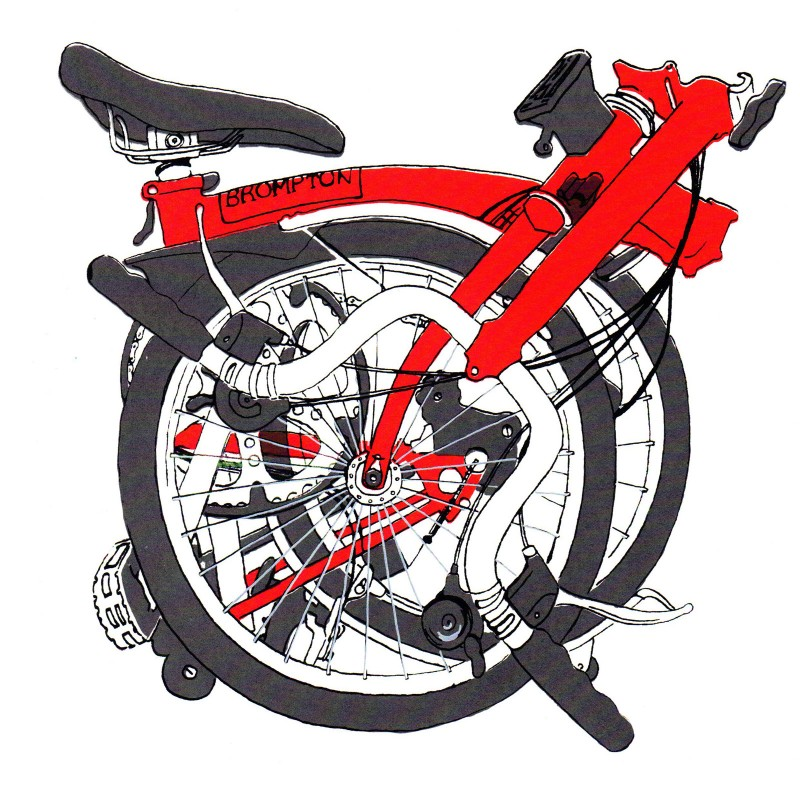 Red Brompton Bicycle Print Small by Diana Powell