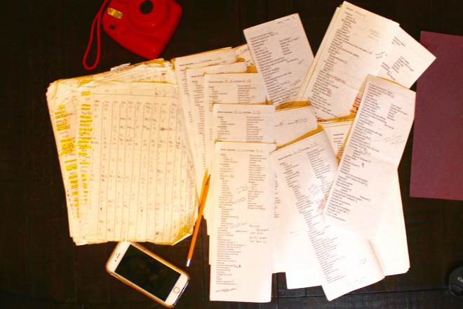 Photo of tally sheets used during Project 40