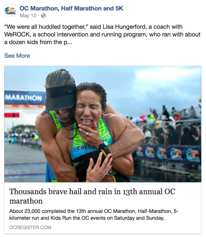 Screen shot of article on OC Marathon