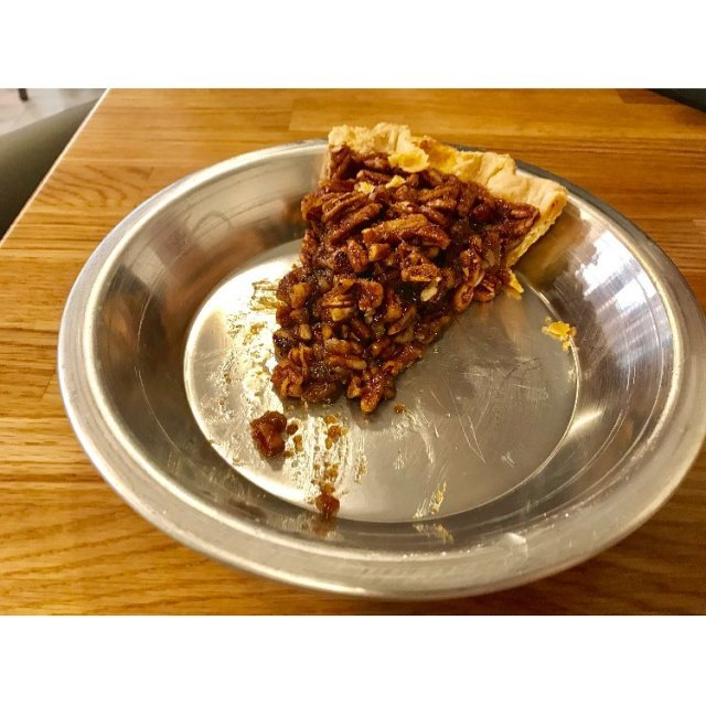 My husbands slice of salted caramel pecan pie Im lowcarbinghellip