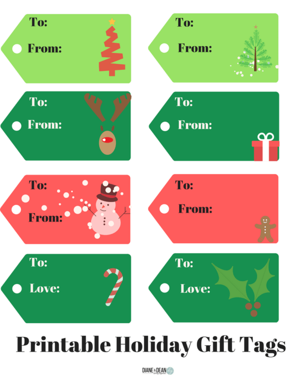 Farmhouse Style Holiday Gift Tag Printables - Diane and Dean