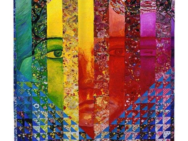Conundrum I, Rainbow Woman Double Face Shower Curtain