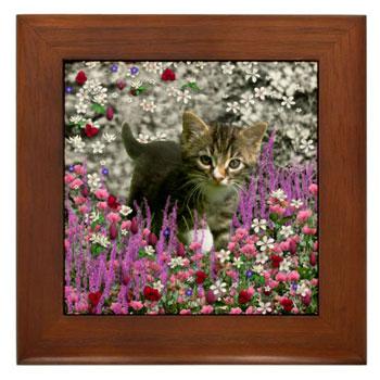 Emma in Flowers I Framed Tile
