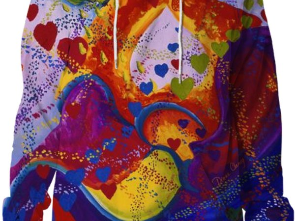 Underground, The Power of Love, Abstract Crimson Iris Hearts Hoodie