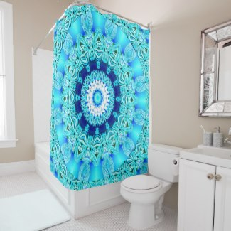 Blue Ice Glass, Abstract Beauty Aqua Lace Shower Curtain