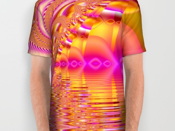 Golden Pink Fiesta, Abstract Fractal Ocean Ripples All Over Print Shirt