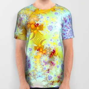 Golden Violet Sea Shells, Abstract Fractal Ocean All Over Print Shirt