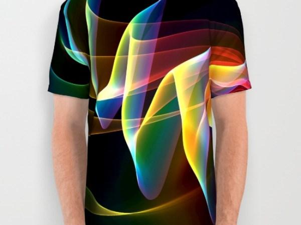 Northern Lights, Abstract Fractal Rainbow Aurora All Over Print Shirt
