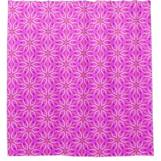 Pink Snowflakes Spinning in Abstract Winter Shower Curtain