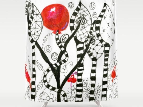 Pop of Color, Red Balloon Zendoodle in Fanciful Forest Shower Curtain