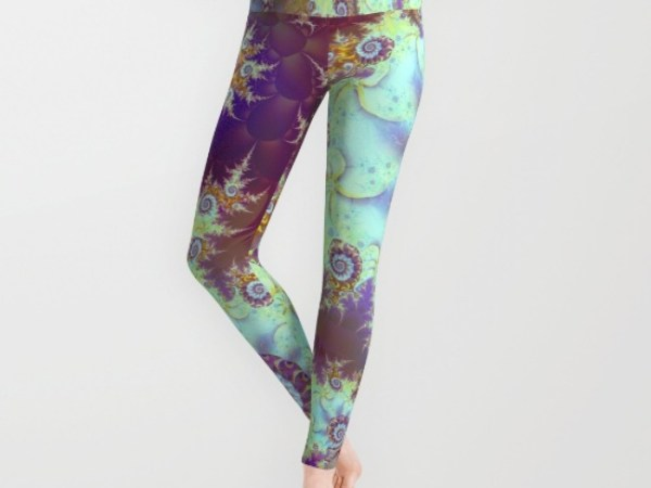 Purple Fractal Sea Horse, Abstract Ocean Waves Swirls Leggings