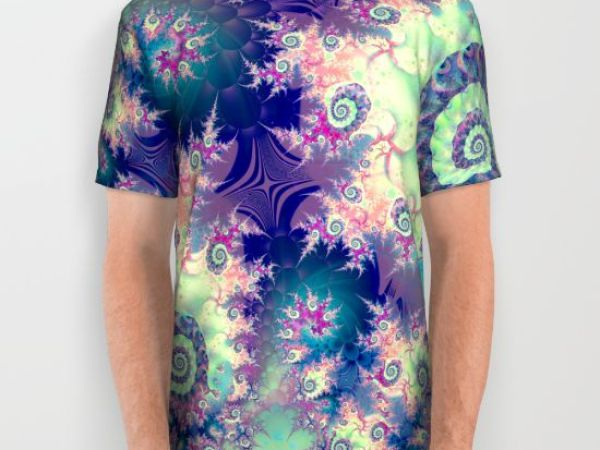 Violet Teal Sea Shells, Abstract Underwater Forest All Over Print Shirt