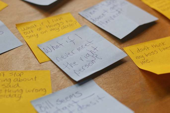 Close-up of post-it note What if I never meet the right person