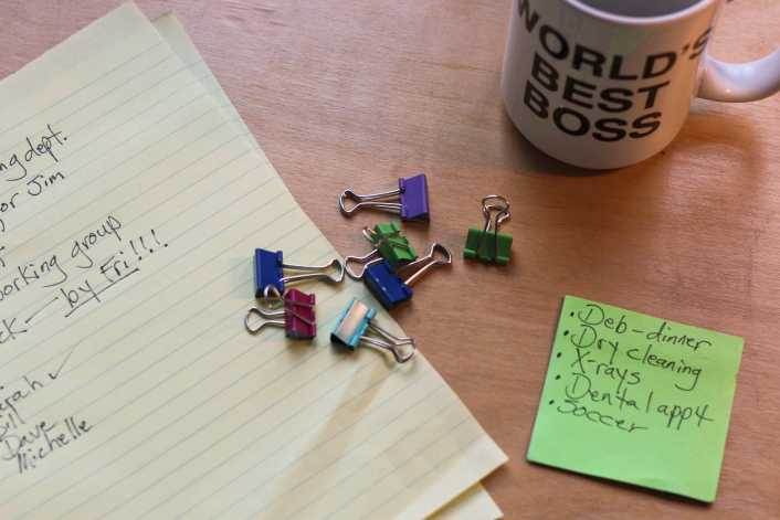 legal pad with list and binder clips and coffee mug and post-it