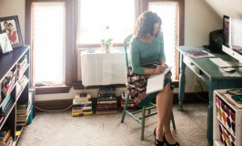 Hey Working Moms: Image of me writing in my home office.