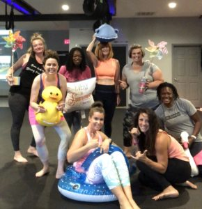 Loneliness: Image of Pop Pilates class at Soar Fitness Studio, Westover, WV