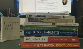 My favorite nonfiction books: Image of a stack of books.