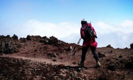 (Breast) Cancer: An Insider's Account: image of a woman hiking with expedition poles.