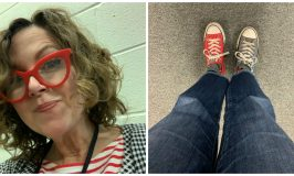A day in the life of a US election worker: image of a woman in red white and blue