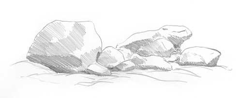 drawing rocks - tutorial diane