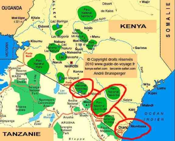 Carte - Amboseli- Safaris 3jours Tsavo Amboseli Kenya