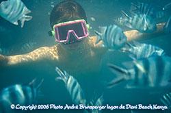 Nicolas sous l'eau plage Diani divers hébergements de plages à Diani au Kenya